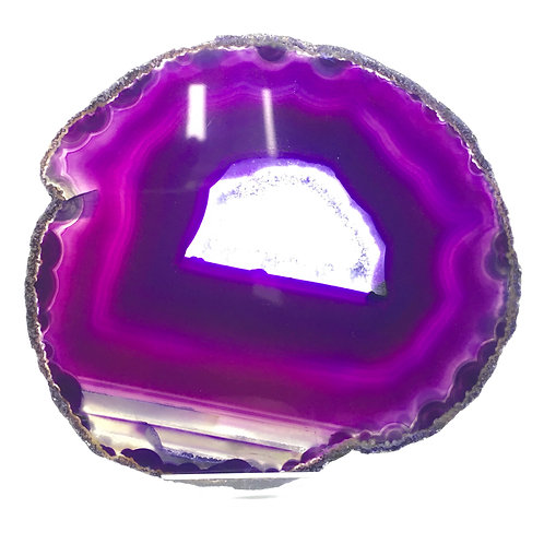 Purple Agate Slice - Size 4 - J - Polished with Free Stand