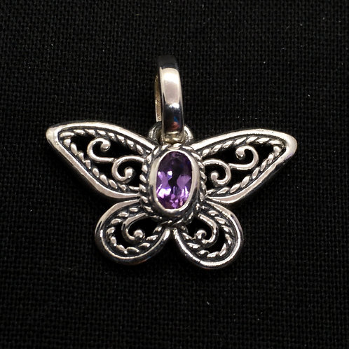 Butterfly with Amethyst Pendant (Sterling Sliver)