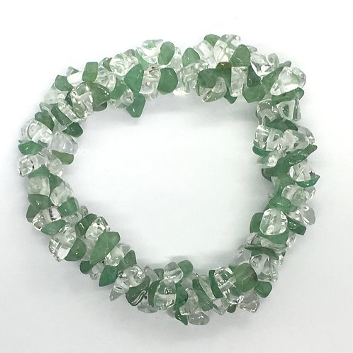 Chunky Elasticated Bracelet -Aventurine & Clear Quartz