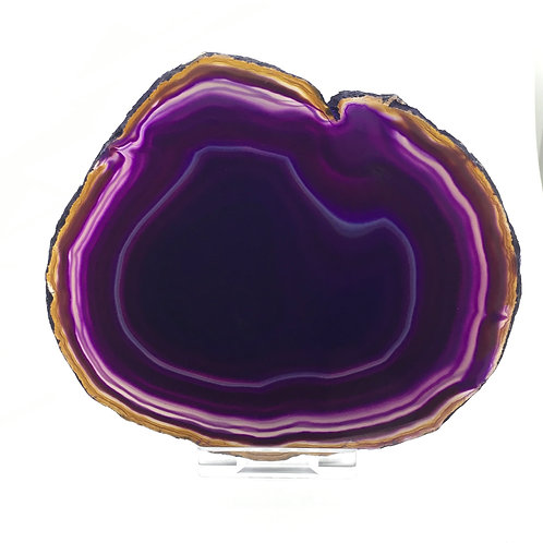 Purple Agate Slice - Size 4 - H - Polished with Free Stand