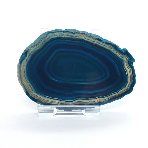 Blue Agate Slice - Size 1 -A- Polished with Free Stand