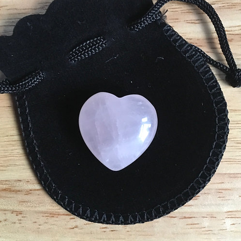 Rose Quartz Crystal Heart- Small 25 mm with Free Black Velvet Pouch