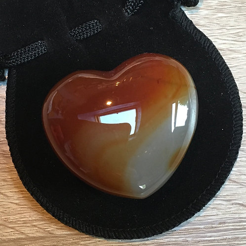 Carnelian Crystal 45 mm  Heart with Free Pouch