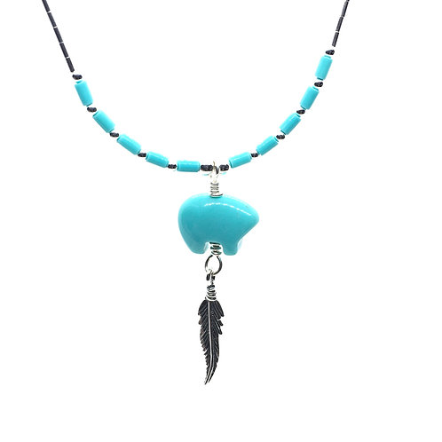 Zuni Bear Necklace With Turquoise (Sterling Silver)