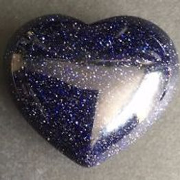 Blue Goldstone 40 mm  Heart with Free Pouch