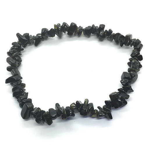 Black Obsidian Crystal Chip Bracelet
