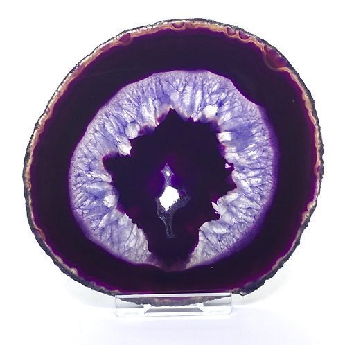 Purple Agate Slice -Size 3 - C- Polished with Free Stand