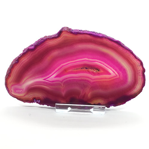 Pink Agate Slice -Size 3 - C - Polished with Free Stand