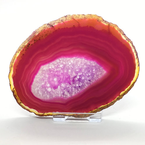 Pink Agate Slice -Size 3 - D - Polished with Free Stand