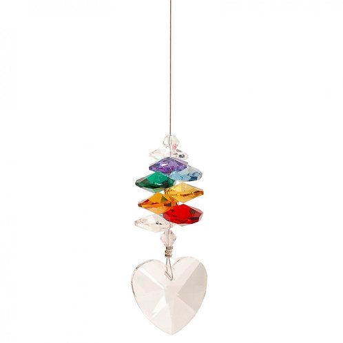 Lead Crystal Heart or Star with Chakra Cascade