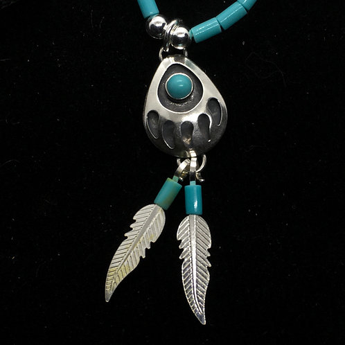 Bear Paw Necklace With Turquoise (Sterling Silver)