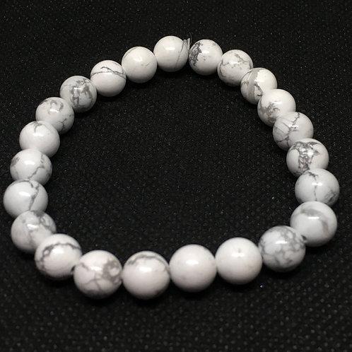 White Howlite 8mm Beaded Elasticated Bracelet