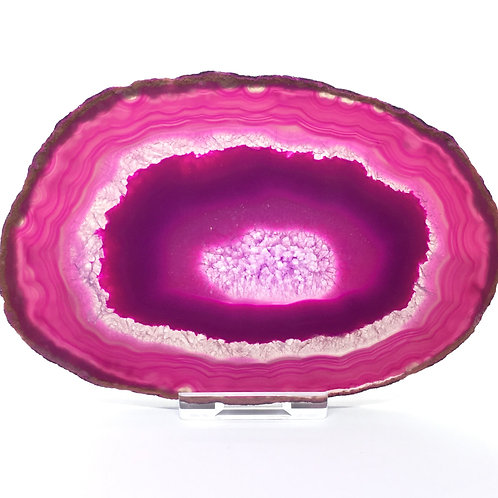 Pink Agate Slice -Size 5 - A- Polished with Free Stand