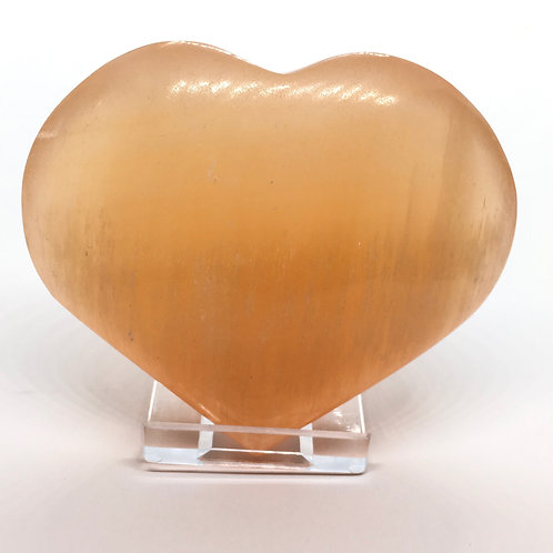 Selenite Orange Heart 45 - 55 mm with Free Stand