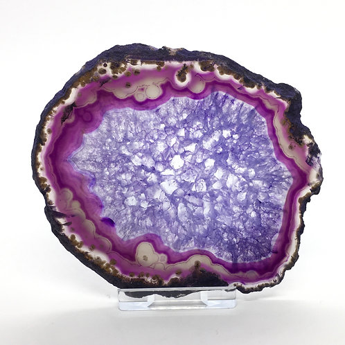 Purple Agate Slice -Size 3 - B - Polished with Free Stand