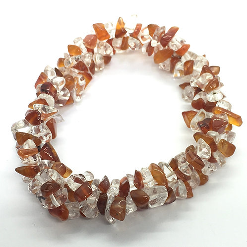 Chunky Elasticated Bracelet -Carnelian & Clear Quartz
