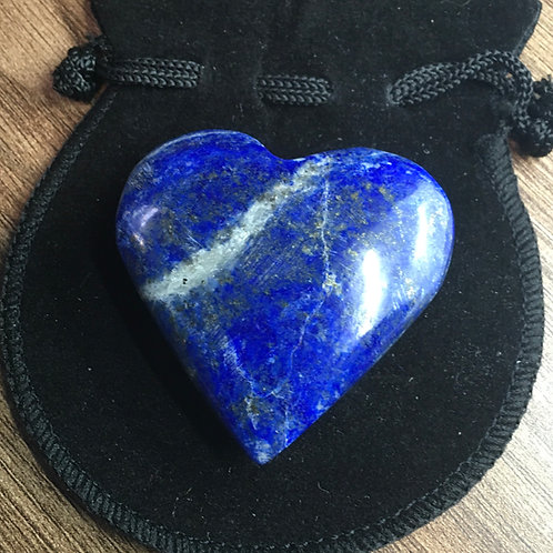 Lapis Lazuli Crystal 40-45 mm  Heart with Free Pouch