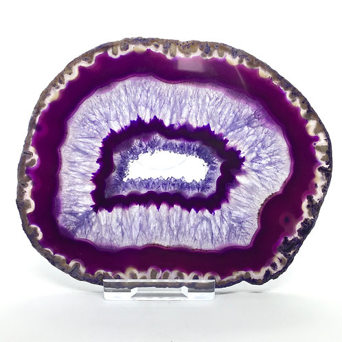 Purple Agate Slice - K - Polished with Free Stand