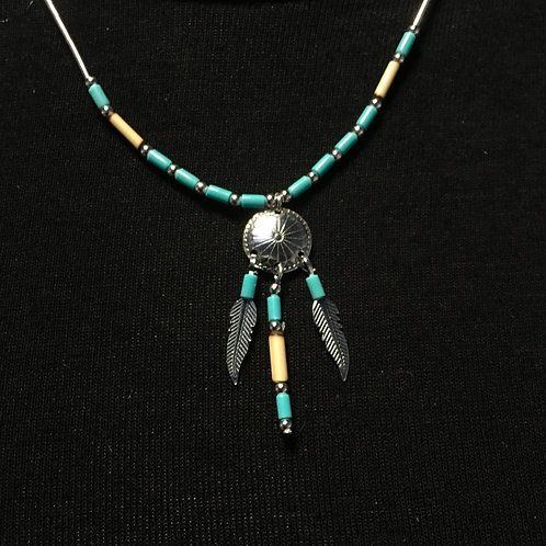 Medicine Shield Necklace With Turquoise & Feathers (Sterling Silver)