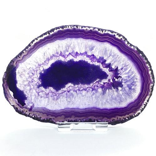Purple Agate Slice - Size 4 - I - Polished with Free Stand