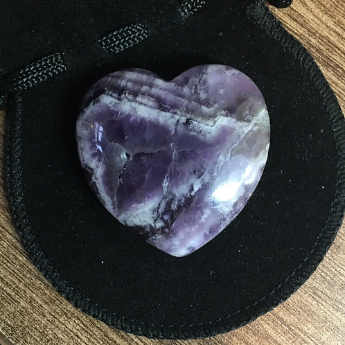 Amethyst Dog Tooth Crystal 40 mm  Heart with Free Pouch