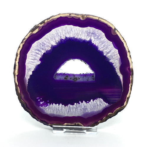 Purple Agate Slice - C - Polished with Free Stand