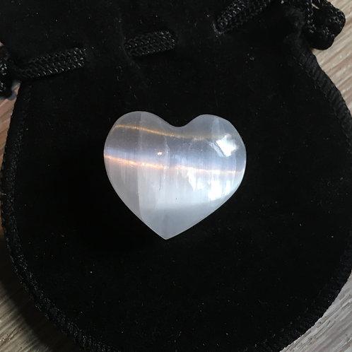 Selenite Small Heart 25 mm with Free Velvet Pouch