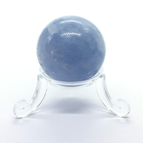 Blue Calcite Crystal 30 mm Sphere with Free Stand