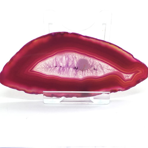 Pink Agate Slice - Q - Polished with Free Stand