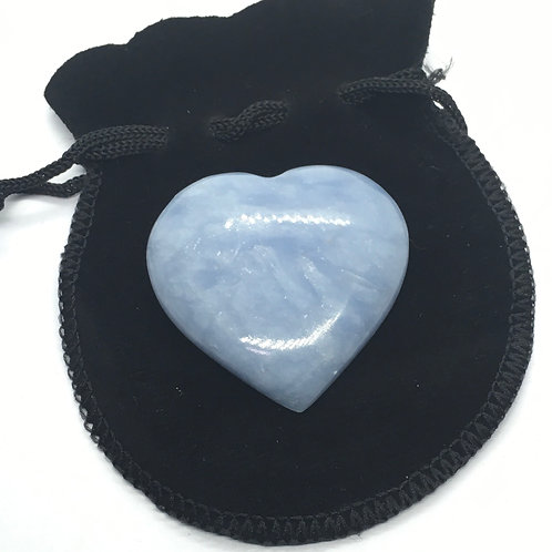 Angelite Crystal 35 mm  Heart with Free Pouch