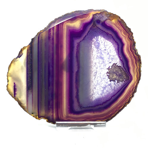 Purple Agate Slice - F - Polished with Free Stand