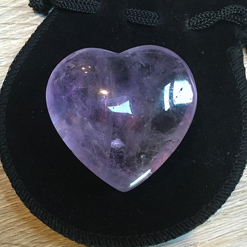 Amethyst Crystal 40 mm  Heart with Free Pouch