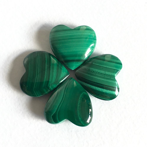 Malachite Crystal Heart- Small 25 mm with Free Black Velvet Pouch
