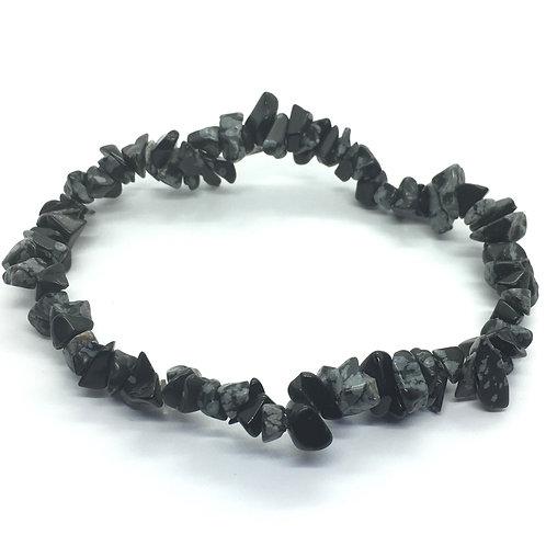 Obsidian Snowflake Crystal Chip Bracelet