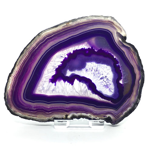 Purple Agate Slice - Size 4 - D - Polished with Free Stand