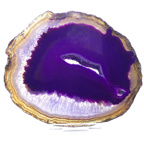 Purple Agate Slice -A - Polished with Free Stand
