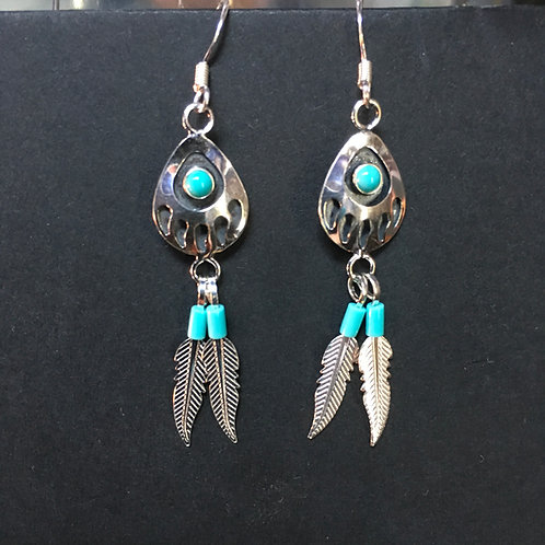 Bear Paw Earrings With Turquoise (Sterling Silver)