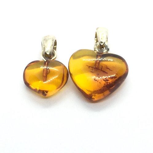 Small Amber Heart Pendants