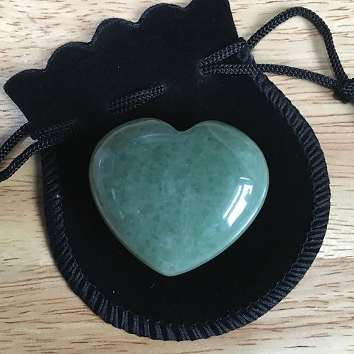 Green Aventurine 40 mm  Heart with Free Pouch