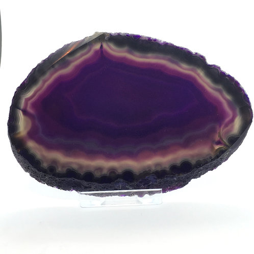 Purple Agate Slice -Size 3 - A - Polished with Free Stand