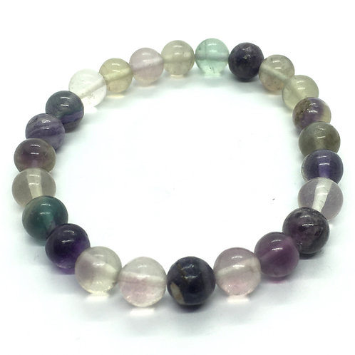 Fluorite  8mm Beaded Elasticated Bracelet