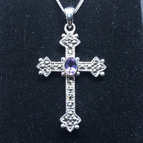 Patterned Marc Cross + Amethyst Pendant (Sterling Silver)