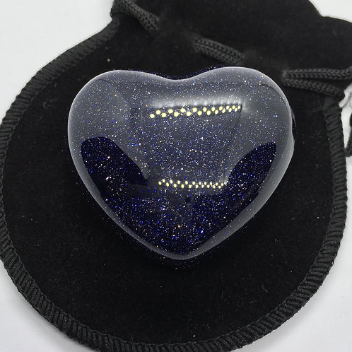 Blue Goldstone 45 mm  Heart with Free Pouch