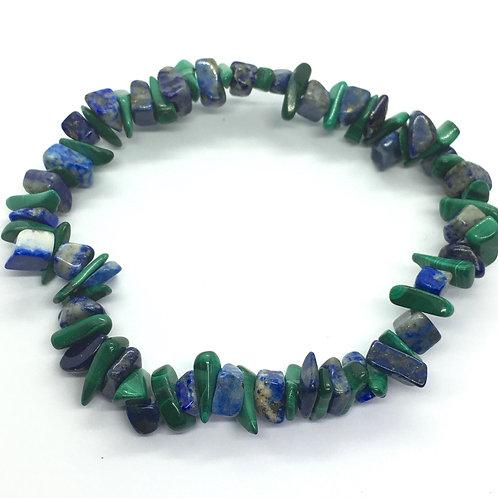 Lapis Lazuli & Malachite Crystal Chip Bracelet