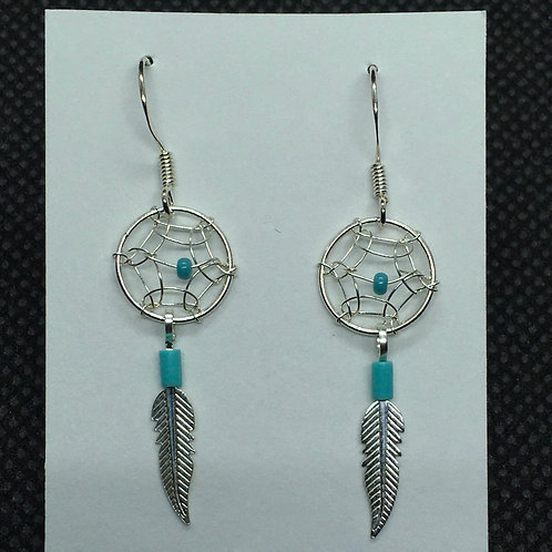 Small Dream Catcher Earrings With Turquoise (Sterling Silver)