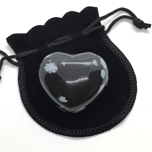 Snowflake Obsidian 45 mm  Heart with Free Pouch