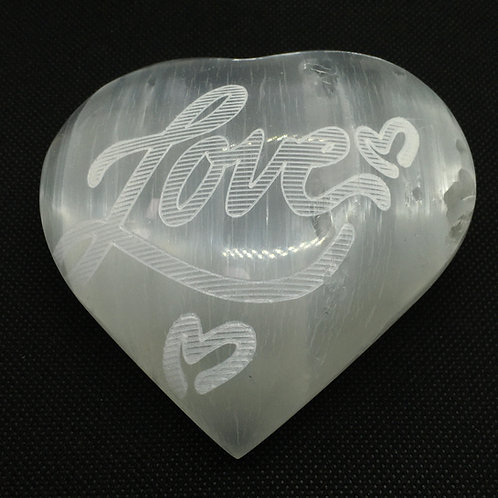 Selenite Heart - Etched with 'LOVE'