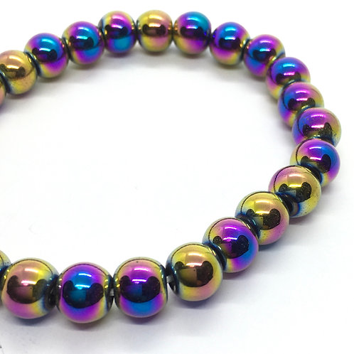 Hematite Rainbow 8mm Beaded Elasticated Bracelet