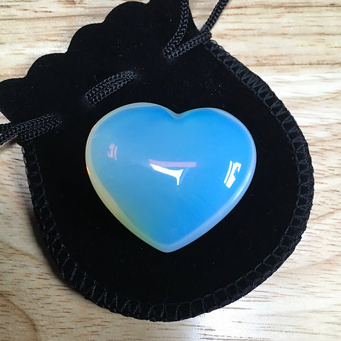 Opalite 40 mm  Heart with Free Pouch