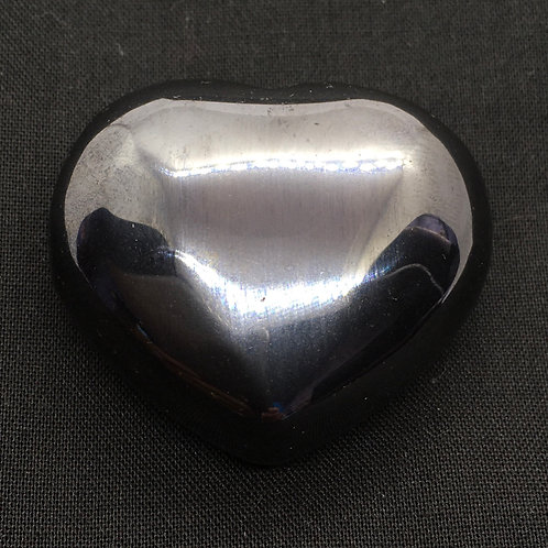 Hematite 40 mm Heart with Free Pouch